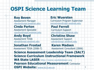 OSPI Science Learning Team