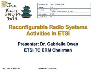 Reconfigurable Radio Systems Activities in ETSI