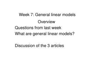 Week 7: General linear models