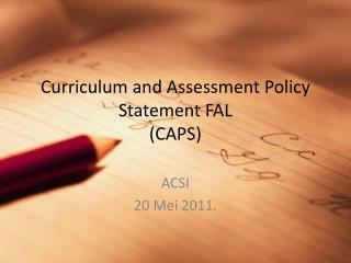 Curriculum and Assessment Policy Statement FAL (CAPS)