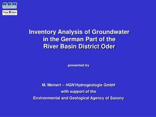 Inventory Analysis of Groundwater                      in the German Part of the                               River Bas