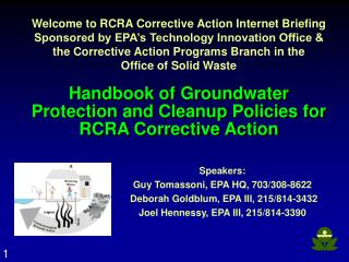 Handbook of Groundwater  Protection and Cleanup Policies for  RCRA Corrective Action