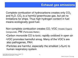 Exhaust gas emissions