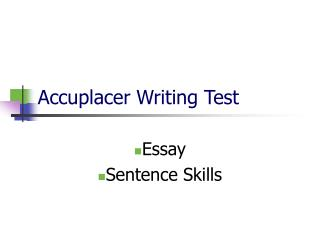 Accuplacer Writing Test