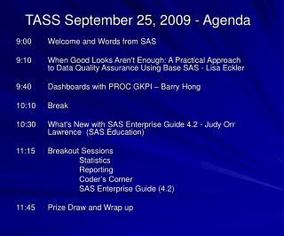 TASS September 25, 2009 - Agenda