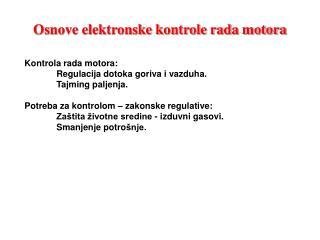 Osnove elektronske kontrole rada motora