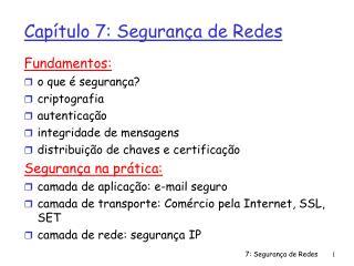 Capítulo 7: Segurança de Redes