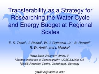 Transferability as a Strategy for Researching the Water Cycle and Energy Budget at Regional Scales