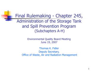 Final Rulemaking - Chapter 245 Background