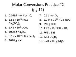 Molar Conversions Practice #2 ( pg  11)