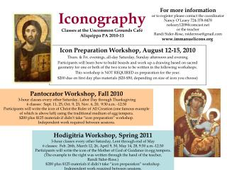 Iconography  Classes at the Uncommon Grounds Caf  Aliquippa PA 2010-11