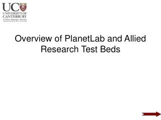 Overview of PlanetLab and Allied Research Test Beds