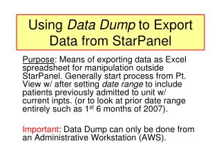 Using  Data Dump  to Export Data from StarPanel