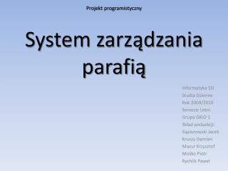 System zarządzania parafią