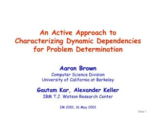 An Active Approach to  Characterizing Dynamic Dependencies for Problem Determination