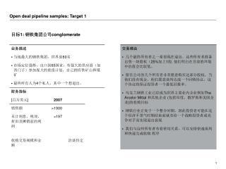 Open deal pipeline samples: Target 1