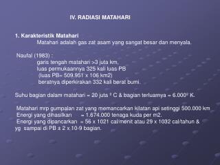 IV. RADIASI MATAHARI