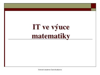 IT ve výuce matematiky