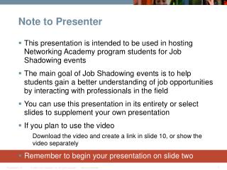 Note to Presenter
