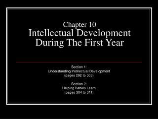 Chapter 10 Intellectual Development During The First Year