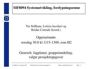 SIF8094 Systemutvikling, fordypningsemne