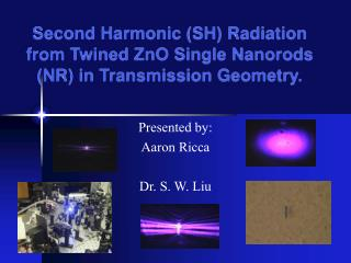 Second Harmonic (SH) Radiation from Twined ZnO Single Nanorods (NR) in Transmission Geometry.