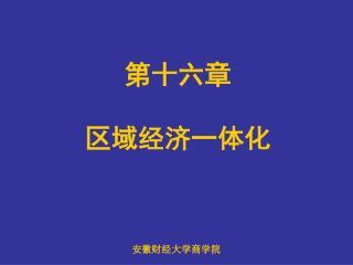 第十六章  区域经济一体化