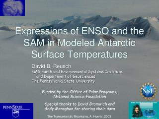 Expressions of ENSO and the SAM in Modeled Antarctic Surface Temperatures