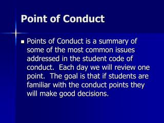 Point of Conduct