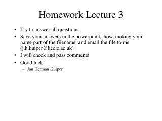 Homework Lecture 3