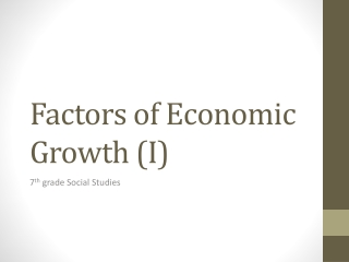 Economic Growth I