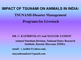 IMPACT OF TSUNAMI ON ANIMALS IN INDIA: TSUNAMI-Disaster Management  Programs for Livestock