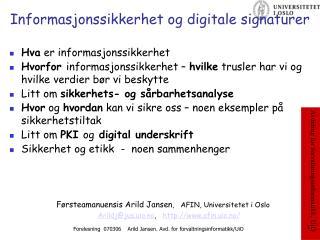 Informasjonssikkerhet og digitale signaturer