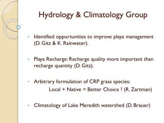 Hydrology & Climatology Group