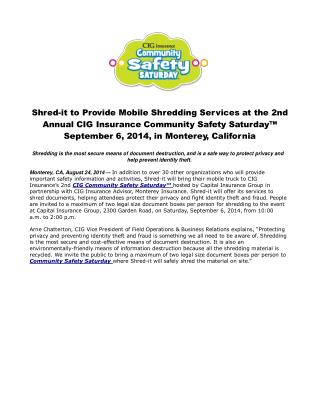 Shred-it to Provide Mobile Shredding Services