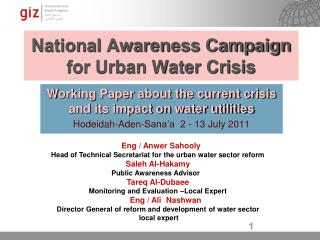 National Awareness Campaign for Urban Water Crisis