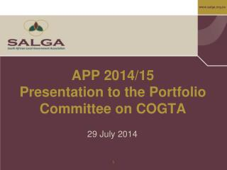 APP 2014/15 Presentation to the Portfolio Committee on COGTA