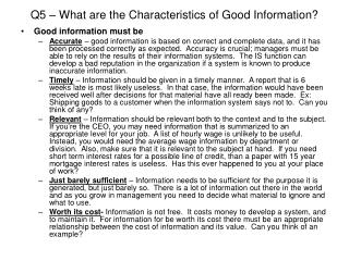 Q5 – What are the Characteristics of Good Information?