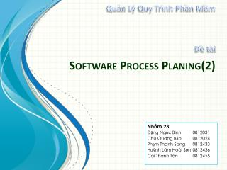 Software Process  Planing(2)