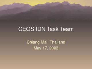 CEOS IDN Task Team