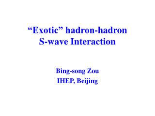 """Exotic"" hadron-hadron  S-wave Interaction"
