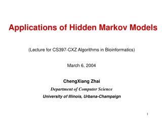 Applications of Hidden Markov Models