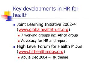 Key developments in HR for health