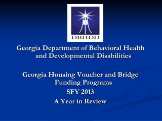 Georgia Department of Behavioral Health and Developmental Disabilities