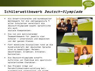 Schülerwettbewerb  Deutsch-Olympiade