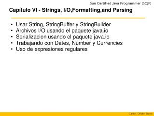 Capítulo VI - Strings, I/O,Formatting,and Parsing