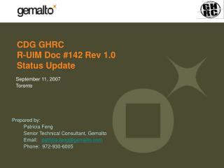 CDG GHRC  R-UIM Doc #142 Rev 1.0 Status Update
