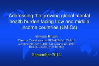 Addressing the growing global mental health burden facing Low and middle income countries (LMICs)