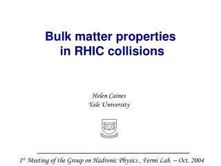 Bulk matter properties  in RHIC collisions