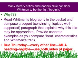 """Many literary critics and readers alike consider Whitman to be the first """"beatnik."""""""
